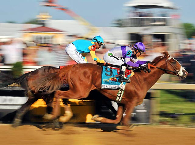 I'll Have Another, right, pulled out another victory in a head-to-head dash against the favored Bodemeister at the Preakness, held at the Pimlico racecourse in Baltimore.