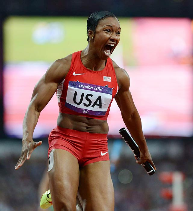 Carmelita Jeter reacts after completing the anchor leg as the U.S. won the 4x100 relay in world record time (40.82) at the London Games. Jeter, Tianna Madison, 200-meter champion Allyson Felix and Bianca Knight cut more than a half-second off the old record of 41.37 run by East Germany in 1985.