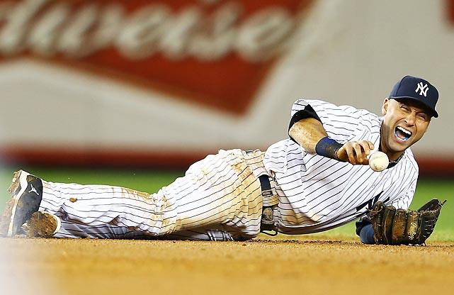 New York Yankees shortstop Derek Jeter screams as he injures himself fielding a ball hit by Detroit Tigers' Jhonny Peralta during Game 1 of the ALCS. Jeter fractured his left ankle and missed the remainder of the postseason.