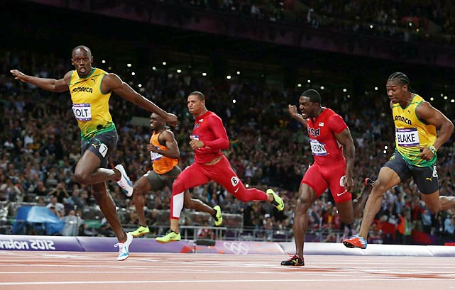 Usain Bolt and fellow Jamaican Yohan Blake finished 1-2 in the 100-meter dash while Justin Gatlin of the U.S. earned the bronze medal at the London Olympics.