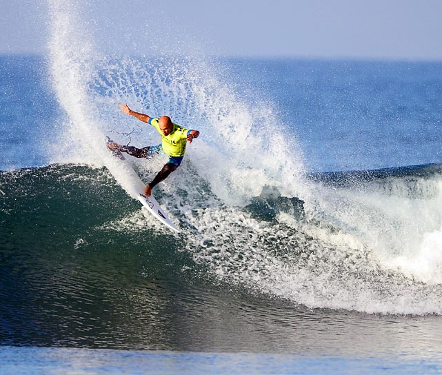 Kelly Slater competes in the Hurley Pro at Lower Trestles, Calif., in September. Slater's win was his 50th ASP tour victory.