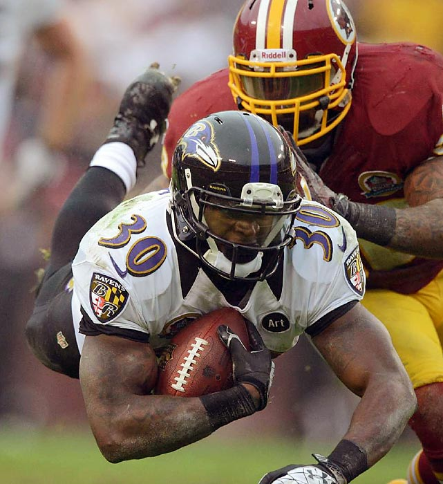 Bernard Pierce goes airborne while playing the Redskins. Pierce, a rookie, ran for a career-high 53 yards, but the Ravens still lost 31-28 in overtime.