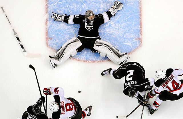 Kings goalie Jonathan Quick makes a memorable save while on his back during Game 4 of the Stanley Cup finals.