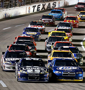 Jimmie Johnson and Brad Keselowski led the field at the final restart in Texas, and battled until the finish.