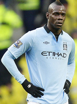 Mario Balotelli and Manchester City are in second place in the English Premier League.