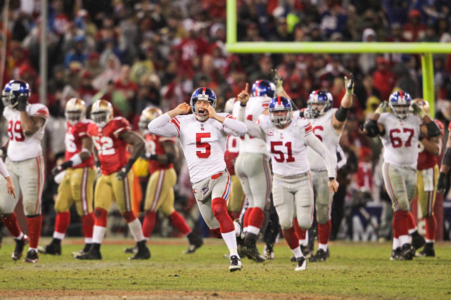The 49ers were on the verge of making their first Super Bowl appearance since 1995, but the Giants stopped them in what was a classic defensive showdown in the NFC Championship Game. New York won in overtime thanks to a fumbled punt by Kyle Williams -- his second turnover of the game. Lawrence Tynes (pictured) kicked the game-winning field goal.