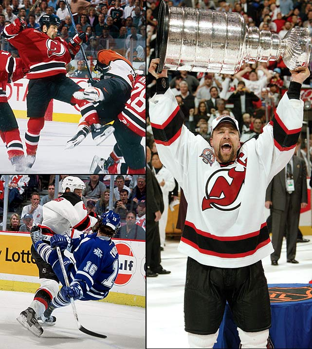 "After arriving from St. Louis as compensation for the Blues signing Brendan Shanahan away from New Jersey, the bone-rattling backliner personified the Devils' defense for 12 years. While leading the team to its first two Stanley Cups (1995, and 2000 when he won the Conn Smythe Trophy as Playoff MVP; he also won a third in 2003), Stevens' hit on Detroit's Slava Kozlov in the 1995 final made him a villain, though one the Devils rallied around. ""In some ways the Kozlov hit did reinvent Scott,"" Larry Robinson, then a Devils assistant, told SI's Michael Farber in 2001. ""That was Scott's first Cup, and so much of our success in that series was based on that hit, how much confidence it gave us."" <bold>SI Vault: </bold><bold>The Hits Keep Coming</bold><bold> by Michael Farber</bold>"