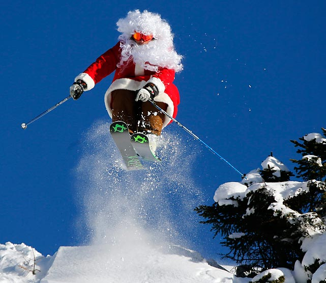 Yes, Virginia, Santa Claus is Italian, and he's comin' to town by any means necessary. Here he is over Madonna di Campiglio.