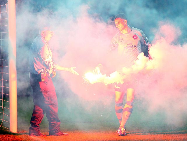The West Sydney Wanderers take some heat from the crowd after scoring during their A-League match against Sydney FC at Allianz Stadium in (you guessed it) Sydney.