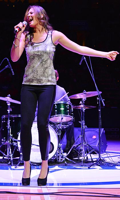 Former American Idol contestant and current recording artist Ayla Brown performed at halftime of the Philadelphia 76ers- Atlanta Hawks game at the Wells Fargo Center in Philadelphia.