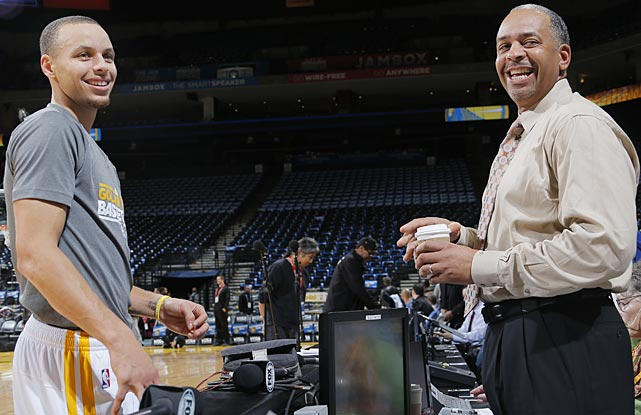 Stephen Curry of the Golden State Warriors met up with his father Dell before the game against the Charlotte Bobcats at Oracle Arena in Oakland.