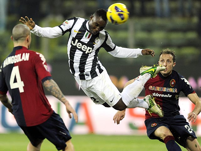 Kwadwo Asamoah of FC Juventus went airborne during the a match between Cagliari Calcio and FC Juventus at Stadio Ennio Tardini in Parma, Italy.