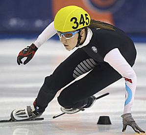 Lana Gehring finished in 1 minute, 35.002 seconds at the Utah Olympic Oval.