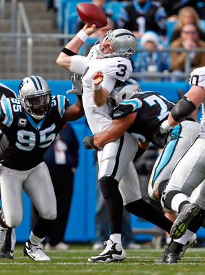 Greg Hardy's hit drew a 15-yard penalty for leading with his head.