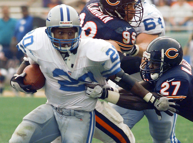 Barry Sanders averaged 6.1 yards per carry and posted 14 consecutive 100-yard games to become the third running back to surpass 2,000 rushing.