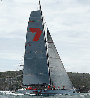 Wild Oats XI holds a four-nautical-mile lead over defending champion Ragamuffin Loyal.