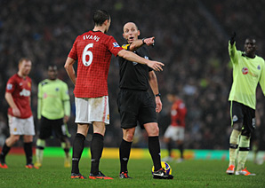 Manchester United's Jonny Evans had an own goal disallowed, but the call was overruled.