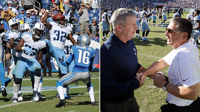 The Tennessee Titans scored a record five times on plays of 60 yards or longer (two pass plays, one kickoff, punt and fumble return) in their 44-41 overtime win over Detroit. The fourth quarter alone featured 46 points, six of which came with a game-saving Hail Mary in the final 18 seconds to force overtime.