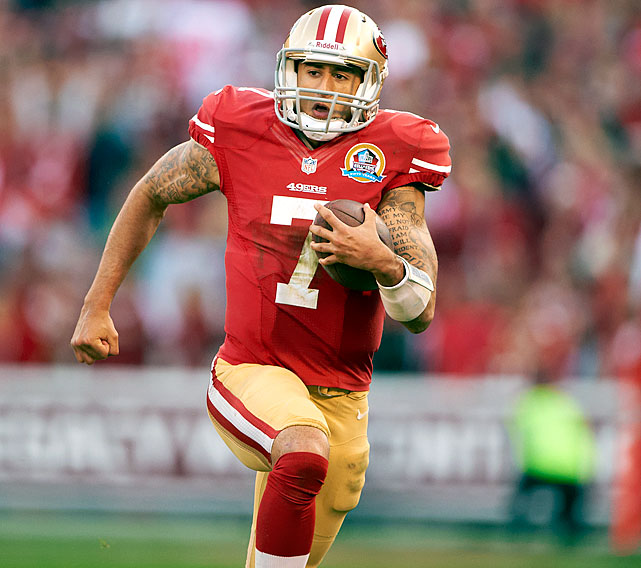 Keep Colin Kaepernick on a loose leash. The second-year quarterback can make big plays when he leaves the pocket.