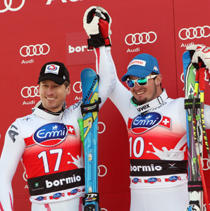 Hannes Reichelt (left) of Austria and Dominik Paris of Italy shared victory with the same time on the Stelvio course.