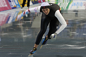 Heather Richardson, shown here at a Dec. 9 event in Nagano, Japan, set a U.S. record in winning the 1,500 meters Sunday.
