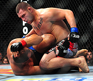 Cain Velasquez was able to dominate the fight by forcing the boxing-oriented Junior Dos Santos to the ground.