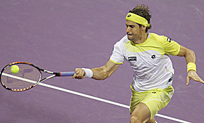 David Ferrer in action at the Qatar Open.