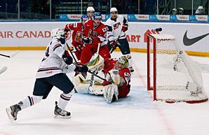USA's John Gaudreau beats Czech Republic goalie Matej Machovsky in the second-period.