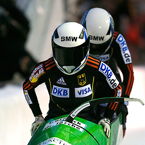 Cathleen Martini (front) and brakewoman Stephanie Schneider secured Germany's first World Cup bobsled win of the season.