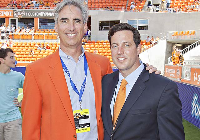Chris Canetti (right) took over as Dynamo president after Oliver Luck (left) in 2010.