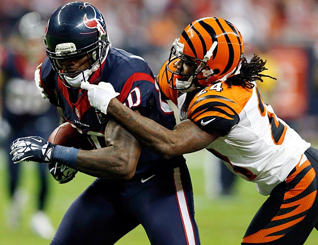 Adam Jones defends against Houston wideout Andre Johnson at Reliant Stadium. Johnson had four catches for 62 yards and no touchdowns.