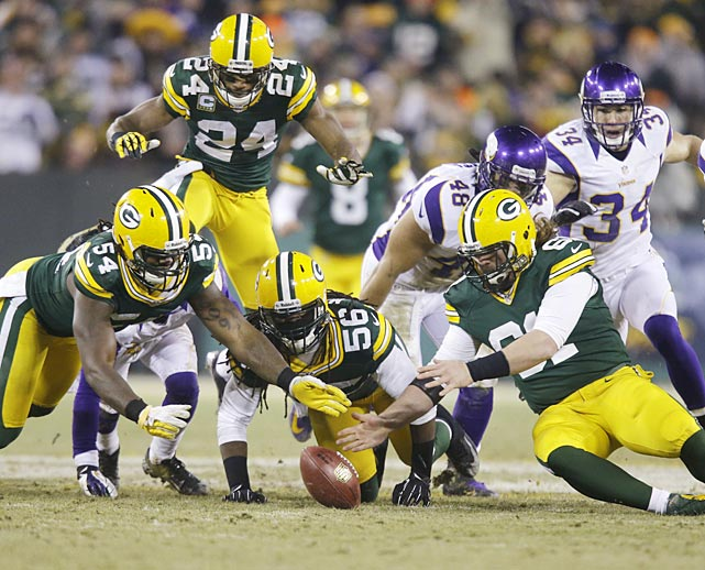 The Packers chase down a fumble on a Minnesota punt return that Green Bay's Dezman Moses eventually recovered.