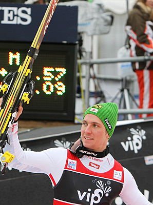 Marcel Hirscher claimed his third win of the season.