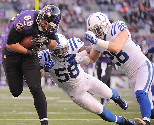 Dennis Pitta caught one of Joe Flacco's two touchdown passes, this one giving Baltimore a 17-6 lead.