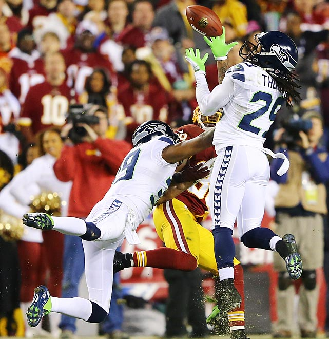 Earl Thomas intercepted a pass intended for Pierre Garcon to foil a Washington drive.