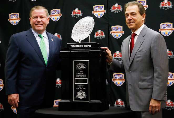 Brian Kelly wants Notre Dame's first title since 1988; Nick Saban wants 'Bama's third title in four years.