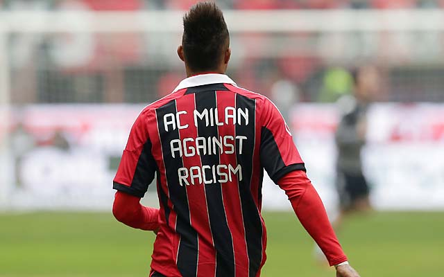 Kevin-Prince Boateng sports an anti-racism message on his shirt before a Serie A match Sunday.