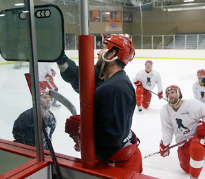 Todd Bertuzzi outlines a play during an informal practice at Troy Sports Center.