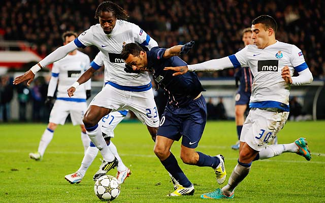 Nene (center) battles for the ball in a Champions League match with FC Porto in December.