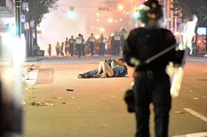 One of the warmer moments of the Vancouver riot was a couple kissing in the street.