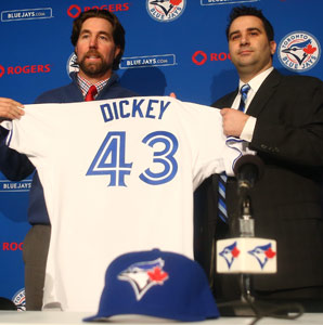 R.A. Dickey  joins Jose Reyes, Josh Johnson and Maek Buehrle among the Blue Jays' offseason additions.