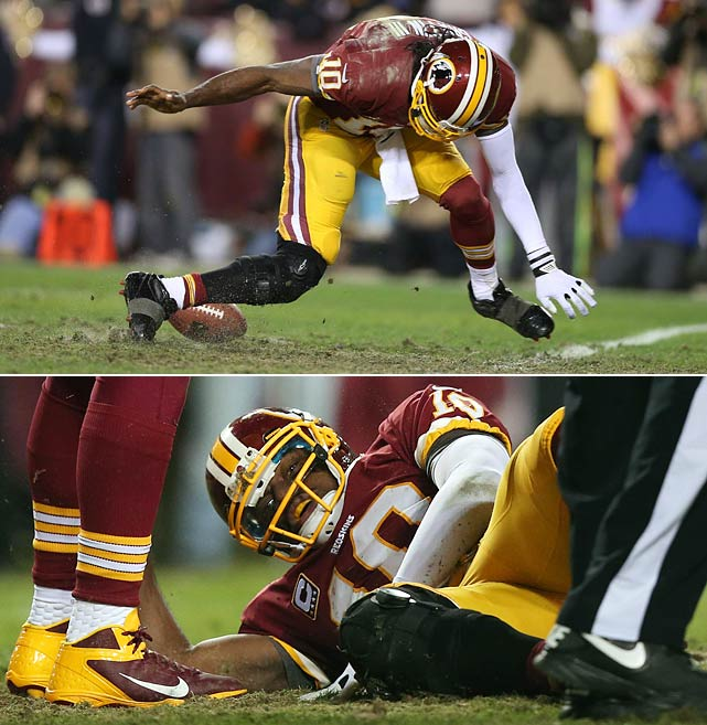 Sensational Redskins rookie quarterback Robert Griffin III underwent knee reconstruction surgery on Jan. 9, three days after injuring his ACL and LCL in Washington's first home playoff game since the 1999 season. In this year's wild-card matchup against Seattle, head coach Mike Shanahan stuck with Griffin despite lingering effects from a sprained lateral collateral ligament injury suffered a month earlier. Griffin played through the pain after seemingly aggravating the injury in the first quarter, but his right knee gave out as he attempted to recover a fumble in the fourth quarter.