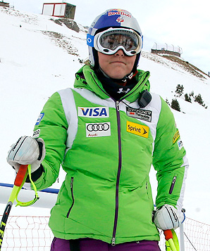 Lindsey Vonn completed her downhill training run 3.98 seconds off of the leader, Lara Gut.