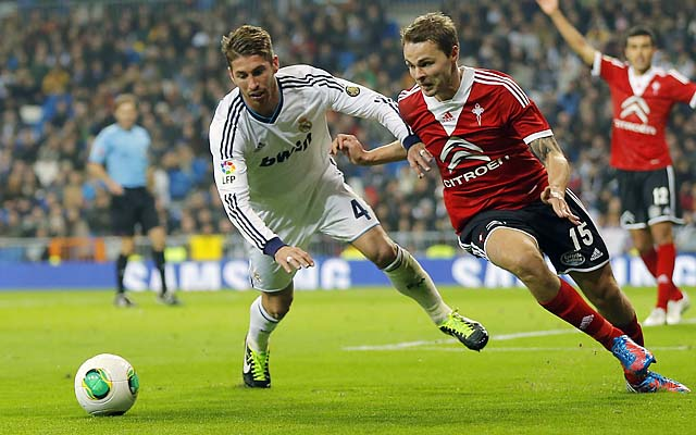 Sergio Ramos (left) duels with Celta de Vigo's Vadim Demidov during their Copa del Rey match Wednesday.