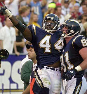 Fred McCrary (44) played four seasons in San Diego with Junior Seau.