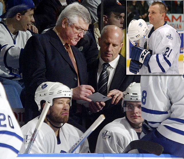 Leafs coach Pat Quinn mistakenly writes the name of Mikael Renberg into his starting lineup as No. 21 before a playoff game against the Islanders in 2002. Renberg is hurt and unable to play. Quinn means to write down the name of Robert Reichel who is healthy and actually wears No. 21. The Islanders notice this but say nothing until after the game starts. It is too late for Quinn, who renders Reichel ineligible and plays a man short.