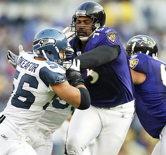 The No. 4 overall selection in the 1996 NFL Draft, Jonathan Ogden developed into top left tackle during his 12-year career, spent entirely in Baltimore. Ogden, a starter from his rookie year until retirement, made the Pro Bowl every year of his career except his rookie season. His protection of quarterbacks Tony Banks and Trent Dilfer helped lead the Ravens to a championship in Super Bowl XXXV.