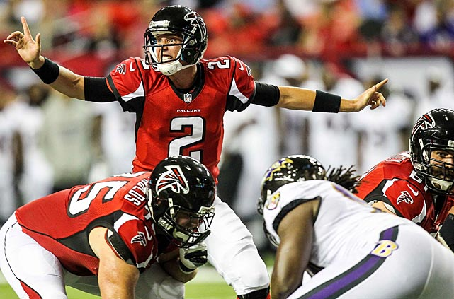 The all-Bird Super Bowl would pair two of the best franchises in the NFL in terms of personnel judgment, and seem a natural culmination of the fresh starts that both clubs made at quarterback and head coach in 2008. That's when the Ravens and Falcons drafted Joe Flacco and Matt Ryan in the first round, respectively, and hired John Harbaugh and Mike Smith to lead their organizations. Good calls all the way around. In the 10 combined regular seasons since those moves, the Ravens and Falcons have combined for nine playoff trips and 10 winning records. The dual Lewis and Tony Gonzalez retirement plans would make for an irresistible Super Bowl week storyline as well. (Pictured: Ryan vs. the Ravens in August 2012.)