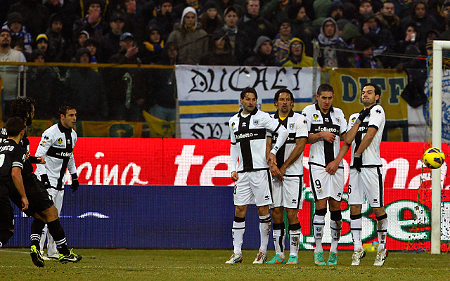 Andrea Pirlo gave Juventus an early lead with a trademark free kick, but the champs scuffled afterward.