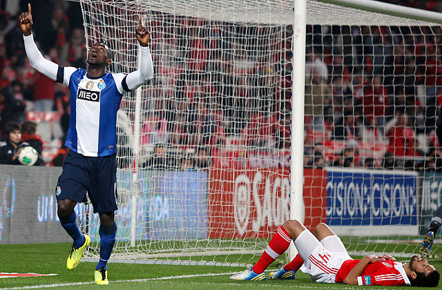FC Porto's Jackson Martinez celebrates after scoring in the opening half.